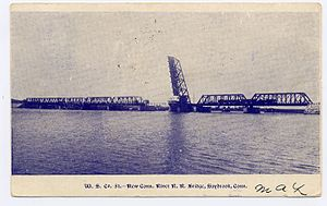 Amtrak Old Saybrook – Old Lyme Bridge - 1908 postcard of the bridge