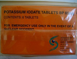 Potassium iodate - Image: Potassium iodate tablets