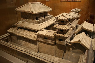 Zhang Heng - A pottery miniature of a palace made during the Han Dynasty; as a palace attendant, Zhang Heng had personal access to Emperor Shun and the right to escort him