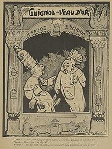 Desenho monocromático de dois bonecos - Combes e um oficial - em um teatro intitulado Guignol du Veau d'or.