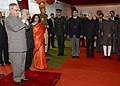 Pranab Mukherjee at 'At Home' on the occasion of Delhi Police Raising Day, in New Delhi. The Vice President, Shri Mohd. Hamid Ansari, the Union Home Minister, Shri Sushilkumar Shinde, the Minister of State for Home.jpg