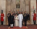 Pranab Mukherjee hosts banquet in the honour of the President of the Democratic Socialist Republic of Sri Lanka, Mr. Maithripala Sirisena and Mrs. Jayanthi Sirisena, at Rashtrapati Bhavan, in New Delhi on February 16, 2015.jpg