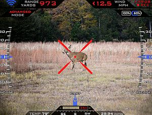 TrackingPoint - Screenshot from the heads up display of a TrackingPoint precision guided firearm