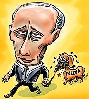 Caricature de la presse néerlandaise, reprsentant Vladimir Poutine tenant en laisse un teckel muselé. Le teckel porte sur son corps un tatouage «médias»