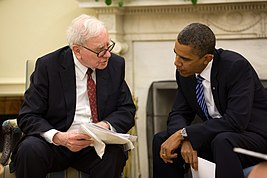 President Barack Obama and Warren Buffett in the Oval Office, July 14, 2010.jpg
