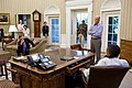 President Barack Obama talks on the phone with House Minority Leader Nancy Pelosi in the Oval Office to discuss ongoing efforts in the debt limit and deficit reduction talks.jpg