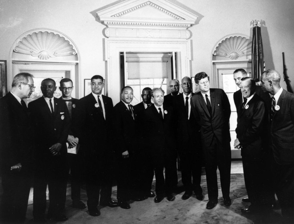 President John F. Kennedy and Vice President Lyndon B. Johnson Meet with Organizers of %22March on Washington%22