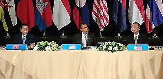 Benigno Aquino III - United States President Barack Obama, with President Aquino and Vietnamese President Nguyễn Minh Triết, at a working lunch with leaders of the Association of Southeast Asian Nations around the United Nations General Assembly Meeting in New York City in 2010.