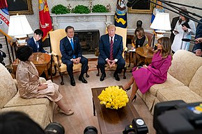 President Trump and First Lady Melania Trump Welcome President Moon Jae-in and Mrs. Kim Jung-sook of the Republic of Korea to the White House (47588610251).jpg