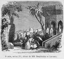 Press illustration of Act2 (scene4) of 'La fiancée d'Abydos' by Barthe at the Théâtre Lyrique 1865 - Gallica.jpg