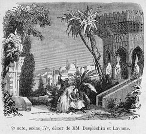 Jean-Baptiste Lavastre - Illustration for scene 4 of the 2nd act of La fiancée d'Abybos by Adrien Barthe, performed at the Théâtre lyrique of Paris (1865).