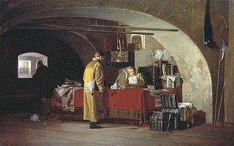 Prikaz - A prikaz in Moscow. Painting by Alexander Stepanovich Yanov
