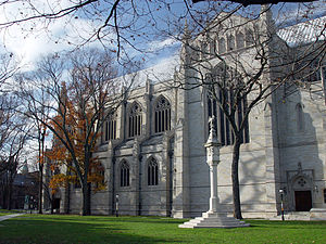 Princeton University Chapel - The exterior of the Chapel seen from the southeast, with the Mather Sundial in the foreground