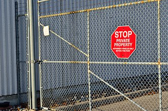 Private property - Gate with a private property sign.