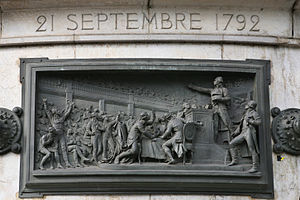 Proclamation of the abolition of the monarchy - Proclamation of the abolition of the monarchy, high-relief bronze by Léopold Morice, Monument of the Republic, Place de la République, Paris, 1883