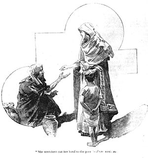 "Proverbs 31 - Depiction of Proverbs 31:20, ""She stretcheth out her hand to the poor..."""