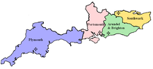 The diocese within the Province of Southwark. The Channel Islands are not shown.