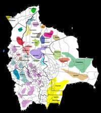 Distribución geográfica de la lenguas nativas de Bolivia