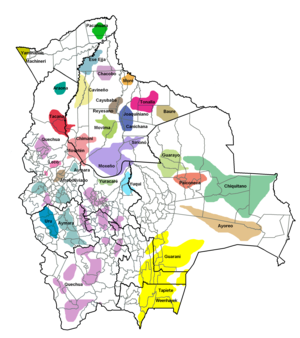 Demographics of Bolivia - Map showing the area of indigenous peoples in Bolivia