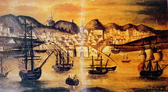 Port of Huelva - 18th century depiction of the port and the city of Huelva