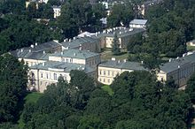 Veduta aerea del palazzo di Czartoryski a Puławy
