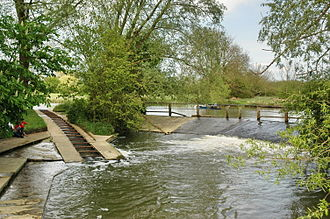 Parson's Pleasure - The weir and punt rollers at Parson's Pleasure