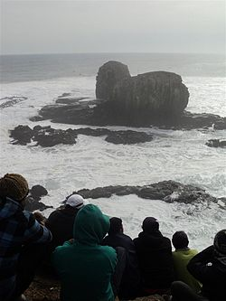 The Rocks of Punta de Lobos during a surf championship in 2011