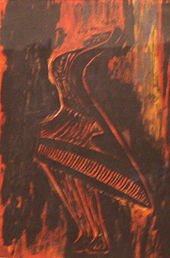 A painting, dominated by angry or fiery strokes of red and orange, of a stylised depiction of (from bottom) feet and legs, a woman's dress, a bust, and a head partly obscured by wavy tapering lines—arms—reaching upward. The figure is alive with motion; a mostly brown background behind.