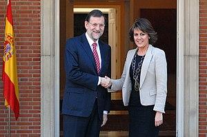 Corruption in Navarre - Yolanda Barcina, former president of Navarre (2011-2015), shaking hands with Spanish premier Mariano Rajoy