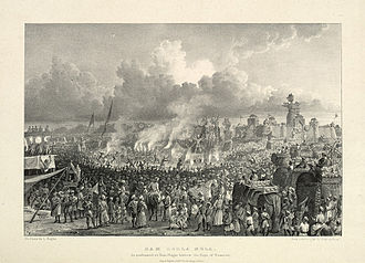 Ramlila - Ram Leela Mela, before the Raja of Benares, culmination of Ramlila with burning of Ravana effigies, at Ramnagar Fort, 1834
