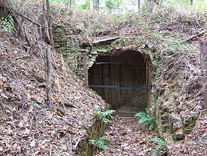 Randolph, Tennessee - Entrance of the powder magazine at Fort Wright (2008)