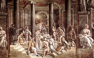 Byzantine Empire - The Baptism of Constantine painted by Raphael's pupils (1520–1524, fresco, Vatican City, Apostolic Palace); Eusebius of Caesarea records that Constantine delayed receiving baptism until shortly before his death.