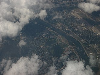 Shreveport, Louisiana - Red River between Shreveport and Bossier City with Barksdale Air Force Base in background, 2008