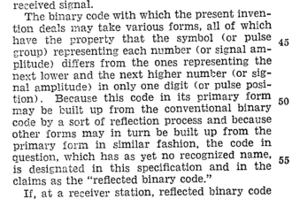 "Gray code - Gray's patent introduces the term ""reflected binary code"""
