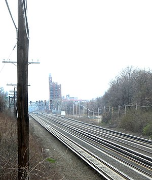 Program for Action - The super-express bypass would have used the outermost trackways of the Long Island Rail Road's Main Line (shown). LIRR service would use the four tracks shown here, which would have been the inner tracks of the bypass.