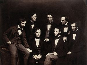 Joseph Lister - Lister with fellow Residents at the Old Royal Infirmary, Edinburgh, c.1855 (Lister is in the front row with his hands clasped)