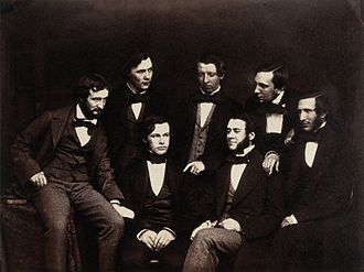 Joseph Lister - Lister with fellow Residents at the Old Royal Infirmary, Edinburgh, c. 1855 (Lister is in the front row with his hands clasped)