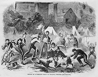 """Battle of Philippi (West Virginia) - """"Return of a Foraging Party to Philippi, Virginia"""", Harper's Weekly, August 17, 1861"""