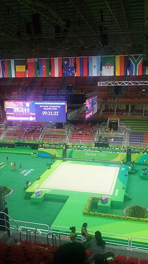 Gymnastics at the 2016 Summer Olympics - Arena Olímpica prior to the rhythmic gymnastics competition.