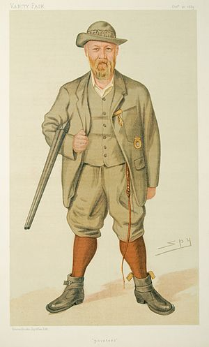 "Richard John Lloyd Price - ""pointers"". Caricature of Richard John Lloyd Price of Rhiwlas by Spy published in Vanity Fair on 10 Oct. 1885."
