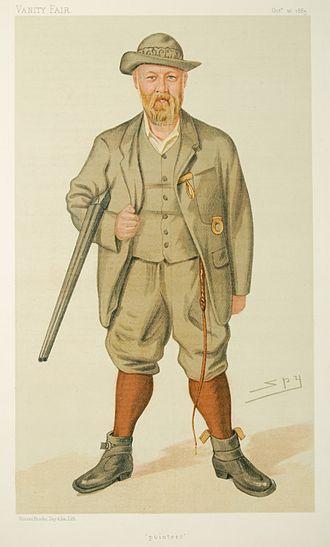 """Richard John Lloyd Price - """"pointers"""". Caricature of Richard John Lloyd Price of Rhiwlas by Spy published in Vanity Fair on 10 Oct. 1885."""