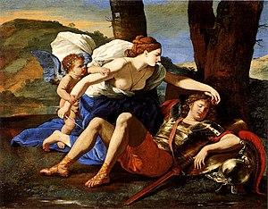 Rinaldo (opera) - Armida falls in love with Rinaldo. 1616 painting by Nicolas Poussin.