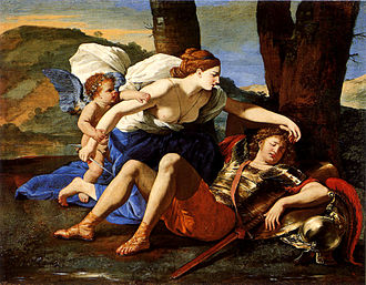 Rinaldo (opera) - Armida falls in love with Rinaldo. 1616 painting by Nicolas Poussin.