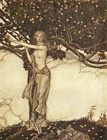 English: The goddess Freia stands under a tree...