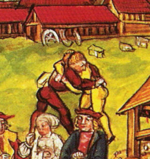 Schwingen - Wrestling match between two Swiss mercenaries. From the Luzerner Chronik of 1513 (detail of a page depicting idle mercenaries passing their time outside Einsiedeln while waiting to be paid).