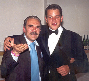 The Talented Mr. Ripley (film) - Rino Barillari and Matt Damon at Harry's Bar, Via Veneto, Rome, during The Talented Mr. Ripley shooting