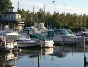River Raisin - Boats docked near the mouth of River Raisin
