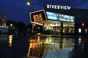 Riverview Theater - The Riverview's lit marquee in 2011