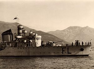 Battle of the Duisburg Convoy - Italian destroyer Fulmine, sunk in the battle