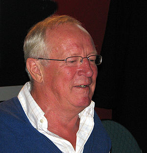 Robert Fisk at a book signing at a writers fes...